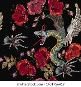 Embroidery snake with wings, spider and roses seamless pattern. Gothic template for clothes, textiles, t-shirt design. Medieval horror style