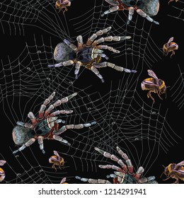e4a0c0b7 Embroidery spider and web seamless pattern. Classical dark gothic  embroidery, tarantula catches a bumblebee