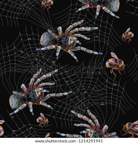 Embroidery Spider Web Seamless Pattern Classical Stock Vektorgrafik