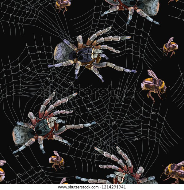 Embroidery Spider Web Seamless Pattern Classical Stock Vector Royalty Free 1214291941