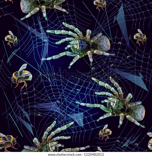 Embroidery Spider Web Seamless Pattern Halloween Stock Vector Royalty Free 1220482012