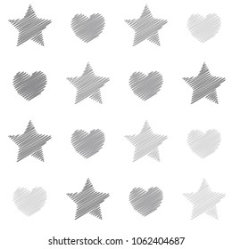 embroidery stars and hearts seamless vector pattern. Light grey shade stars and love symbols with machine embroidered texture on background, stitch effect hearts and sparkles abstract graphic design.