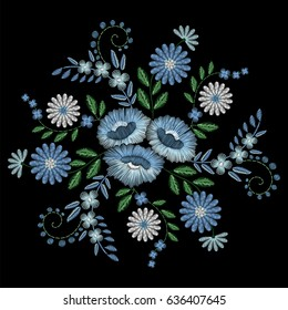 Embroidery stitches with blue wildflowers, indigo spring flowers, grass. Vector fashion embroidered ornament on black background for fabric traditional folk floral decoration