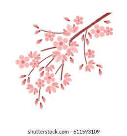 Embroidery stitches with cherry blossoms, spring flowers branches in pastel color. Fashion vector ornament on white background for textile traditional folk floral decoration for clothing. Sakura.