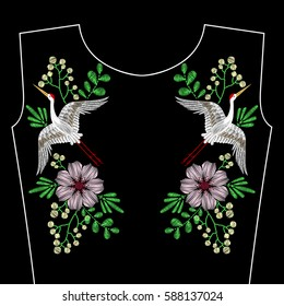 Embroidery stitches with crane bird, spring wild flowers for neckline. Vector fashion embroidered ornament on black background for textile, fabric traditional folk decoration, floral pattern.