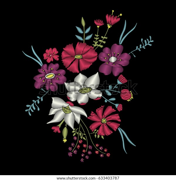 Embroidery Stitches Cute Flowers Embroidery Flower Stock Vector