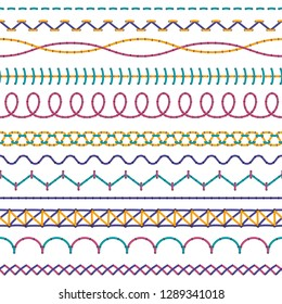 Embroidery stitches. Fashion fabric stitch sew edges sewing zigzag thread, seam cross stitching color seamless stitched vector set