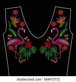 Embroidery stitches with flamingo bird, tropic wild flowers for neckline. Vector fashion ornament on black background for fabric traditional folk decoration
