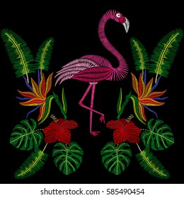 Embroidery stitches with flamingo bird, tropic hibiscus flowers. Vector fashion embroidered  ornament on black background for textile, fabric traditional folk decoration.