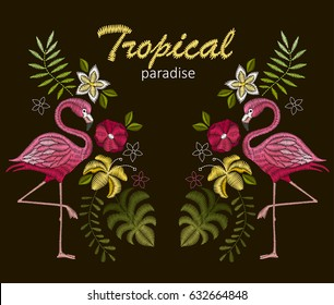 Embroidery stitches with flamingo birds and tropic flowers for neckline. Vector design for collar t-shirts and blouses.