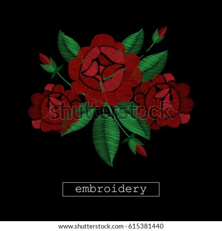 Embroidery Stitches Flowers On Black Background Stock Vector