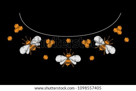 Embroidery Stitches Imitation Bee Embroidery Pattern Stock Vector