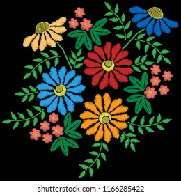 Embroidery stitches imitation with colorful flower with green leaf. Vector embroidery floral folk pattern on the black background for printing on fabric and other decoration.