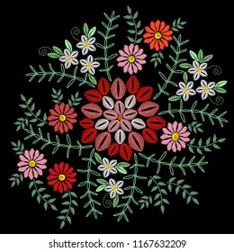Embroidery stitches imitation with colorful flower, grass and green leaf. Vector embroidery floral folk pattern on the black background for printing on fabric and other decoration.