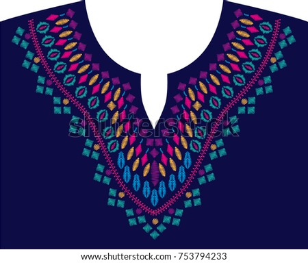 Embroidery Stitches Neckline Traditional Ornament Pattern Stock