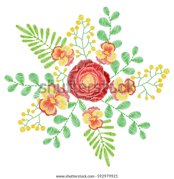 Embroidery Stitches Orange Spring Flowers Wildflowers Stock Vector