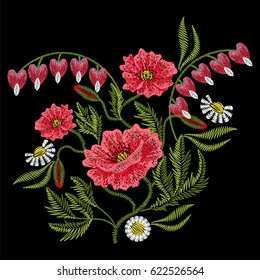 Embroidery stitches with red poppy, chamomile, Broken Heart wild flowers, fashion patch. Vector embroidered ornament on black background for traditional folk floral decoration, ethnic pattern.