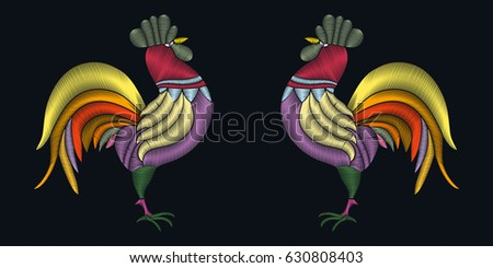 embroidery stitches with rooster bird vector fashion ornament for textile fabric traditional folk decoration