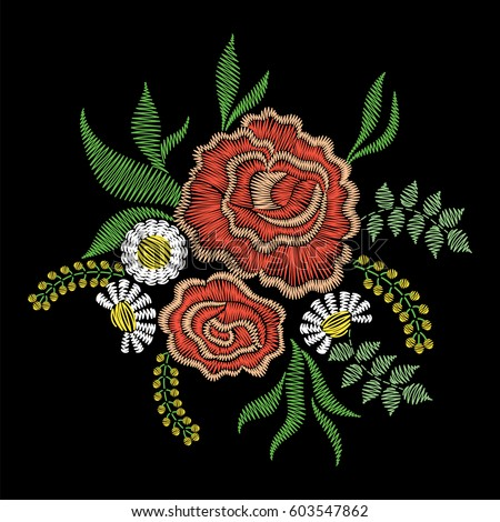 Embroidery Stitches Rose Flowers Neckline Vector Stock Vector