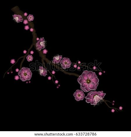 Embroidery Stitches Sakura Blossom Tree Vector Stock-Vektorgrafik ...