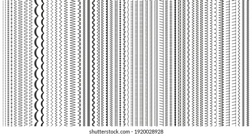 Embroidery stitches. Sewing seams. Vector. Set of machine thread sew brushes. Overlock fabric elements. Seamless pattern. Outline border isolated on white background. Simple graphic illustration.