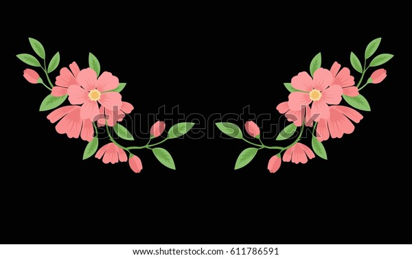 Embroidery Stitches Spring Flowers Branches Pastel Stock Vector
