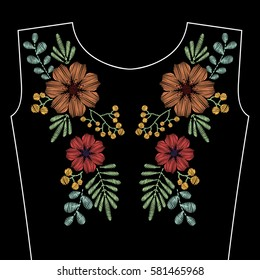 Embroidery stitches with spring wild flowers for neckline. Vector fashion ornament on black background for textile, fabric traditional folk decoration.