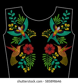 Embroidery stitches  with swallow bird hummingbird, wild flowers for neckline. Vector fashion embroidered ornament on black background for textile, fabric traditional folk decoration.