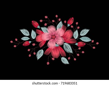 Embroidery stitches with wild flowers, spring flowers, grass, branches pastel, bright colors. Fashion vector ornament, black background for fabric, textiles, garments, traditional folk flower design