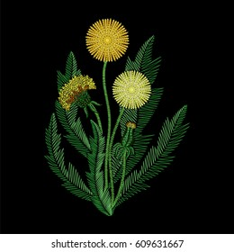 Embroidery stitches with wildflowers, fashion Dandelion flower patch. Vector embroidered summer ornament on black background for fabric traditional decoration