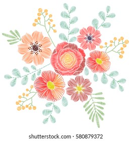 Embroidery stitches with wildflowers, spring flowers, grass, branches in pastel color. Vector fashion ornament for textile, fabric traditional folk floral decoration.