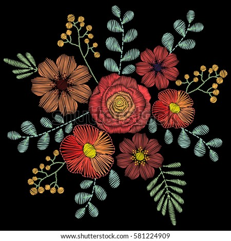 Embroidery Stitches Wildflowers Spring Flowers Grass Stock Vector