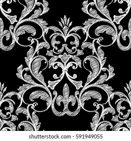 Embroidery style floral damask seamless pattern background wallpaper with vintage tapestry grunge arras  flowers, tracery leaves and antique baroque ornament.Vector tapestry baroque texture.