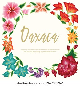 Embroidery Style from Oaxaca, Mexico - Floral Composition – Copy Space