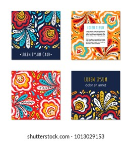 Embroidery style square cards with bright colorful flower and leaf pattern. Ethnic ornamental blanks. Rustic design brochures inspired by russian khokhloma ornament. EPS 10 vector. Clipping masks