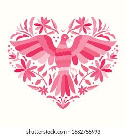 Embroidery Style from Tenango, Hidalgo; México - Otomi Heart Shape Composition