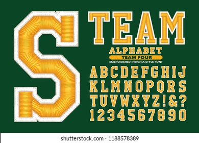 An embroidery style university or sports team font. This alphabet has shiny 3d thread effects similar to a sports cap or jacket
