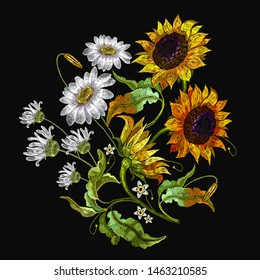 Embroidery sunflower and white daisies, camomile flowers. Fashion colorful summer template for clothes, tapestry, t-shirt design