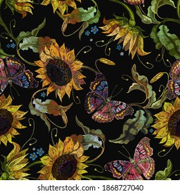 Embroidery sunflowers and butterflies seamless pattern. Vintage template for clothes, tapestry, t-shirt design. Fashion yellow summer flowers