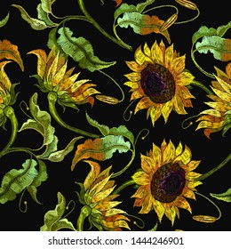 Embroidery sunflowers seamless pattern. Fashion yellow summer flowers, template for clothes, tapestry, t-shirt design