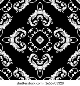 Embroidery textured vector seamless pattern. Black and white floral grunge background. Tapestry wallpaper. Damask flowers, leaves, mandalas. Hatched vintage baroque ornaments. Embroidered texture.