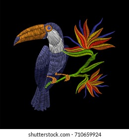 Embroidery toucan with tropical flowers. Vector artwork illustration for fashion clothing, patches and stickers. Exotic bird and hawaii leaves for decor, fabric design elements.
