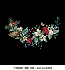Embroidery traditional floral pattern with mushroom, berries, and butterfly. Vector embroidered bouquet with flowers for wearing design.