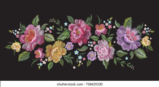 Embroidery traditional floral pattern with roses. Vector embroidered bouquet with flowers for wearing design.