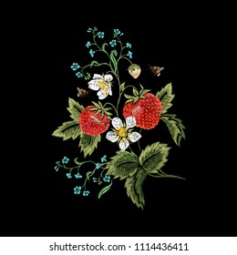 Embroidery traditional floral pattern with strawberries, forget me not and bees. Vector embroidered bouquet with flowers for wearing design.
