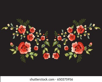 Embroidery traditional folk neck line pattern with red roses. Vector embroidered floral bouquet template with flowers for clothing design