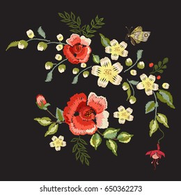 Embroidery traditional folk pattern with red roses. Vector embroidered floral bouquet template with flowers and butterfly for clothing design.