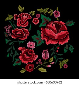 Embroidery traditional folk pattern with red roses. Vector embroidered floral bouquet sketch with flowers for clothing design