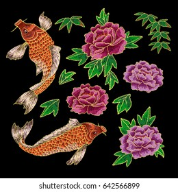 Embroidery with traditional Japanese Carp and peonies flowers.