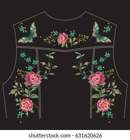 Embroidery trend ethnic floral pattern with roses and butterflies for jeans jacket back. Vector traditional embroidered set with flowers on black background for clothing design
